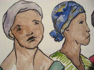 detail of woman watercolor